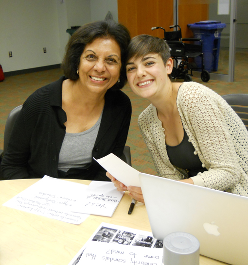 client with student intern during aphasia treatment